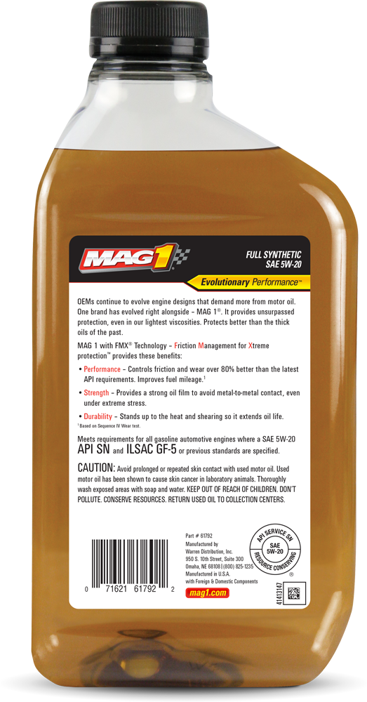 Mag 1 Full Synthetic 5w 20 Motor Oil